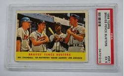 Picture of 1958 TOPPS #351 BRAVES FENCE BUSTERS AARON, MATHEWS, CRANDALL, ADCOCK PSA 5 VG